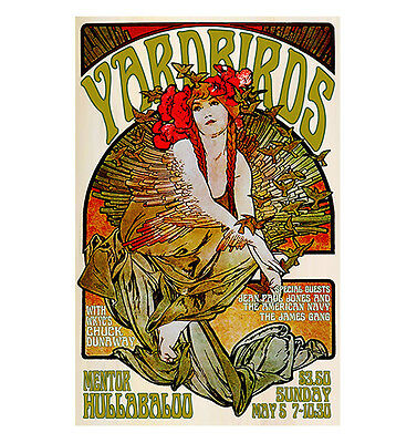 Yardbirds/James Gang 1968 Cleveland Concert Poster