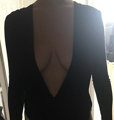 Black Deep Plunge Body Suit Size 12 Miss Guided