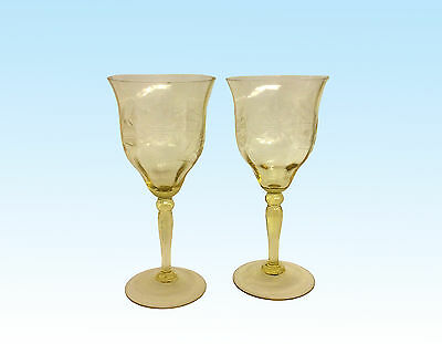 Two Wine Glasses, Amber Optic With The Cornflower Pattern, Maker Unknown