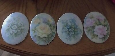 Hand painted Porcelain Plaques Signed Flowers