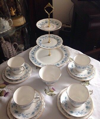 Lovely Vintage Colclough  England Tea Set And Matching 3 Tier Cake Stand