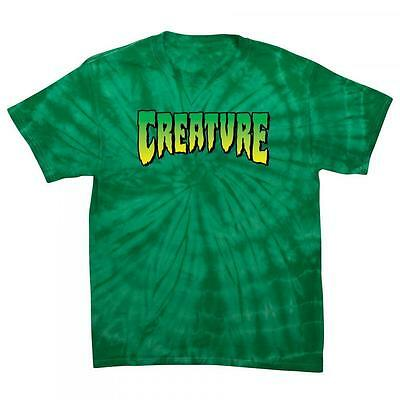CREATURE SKATEBOARDS Logo Tee T-Shirt - Tie Dyed, Green, Black - Large