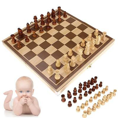 3D Wooden Pieces Chess Set Folding Board Box Wood Hand Carved Gift Kids Toys r0r