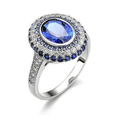 Fashion Jewelry Women Blue Sapphire White Gold Filled Wedding Ring Size 9 CA98