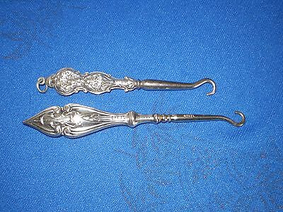 Two Vintage Silver Button Hooks