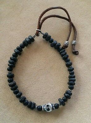 Catherine Michiels Sterling Silver Skull with Black wood beads Layering Bracelet