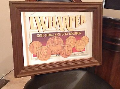 Kentucky Bourbon Gold Medal Bar Mirror Sign - I.W. Harper Classic Vintage