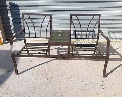 Outdoor aluminium Park Bench with Table Garden Seat Chair Sturdy Furniture