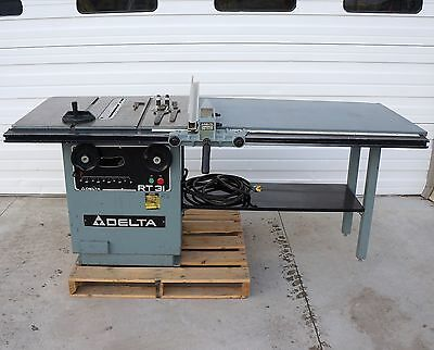 """Delta 10"""" Table Saw Rt31 3 Hp 1 Ph Scoring Blade 52"""" Unifence"""
