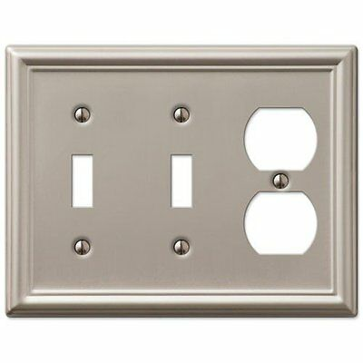 Decorative Wall Switch Outlet Cover Plates Brushed Nickel, 2 Toggle 1 Duplex
