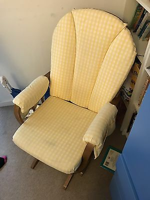 Dutailier Nursing / Glider Chair, Yellow Check Pattern