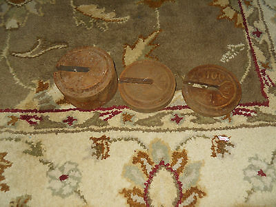 Antique SET 3 HANGING ROUND IRON COUNTER WEIGHTS  FARM STORE