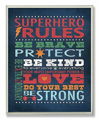 The Kids Room by Stupell Dark Blue Superhero Rules Rectangle Wall Plaque