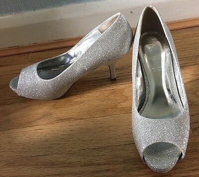 Sparkly Silver Open Toe Court Shoe Size 8 Party/Evening/Wedding
