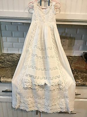 Antique Victorian Baby Summer Sleeveless Christening Gown