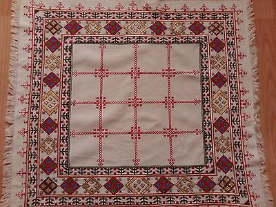 """ANTIQUE Vintage White Handmade Tablecloth Needlepoint Silk Embroidery Square 25"""""""