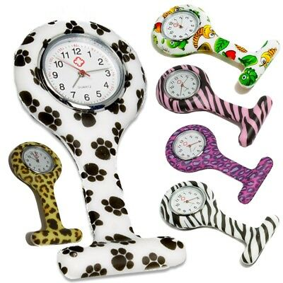 New nurse silicone watches brooch style fob watch with animal prints