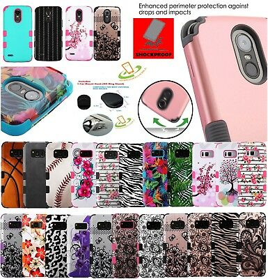 For Samsung GALAXY J3 '17 Hybrid Armor Shockproof Rubber Rugged Case Cover +Hook