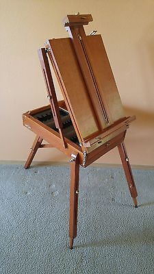 Vintage Folding Portable Wooden Collapsible Painting Easel Suitcase w/ Storage