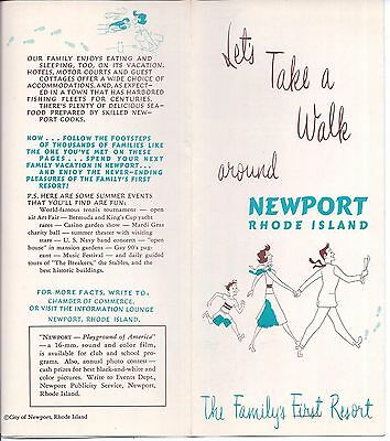 1950s- 60s TOURIST BROCHURE A WALK AROUND NEWPORT RHODE ISLAND