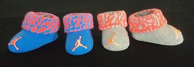Nwt! 2 Pairs Nike Jordan Blue Grey Booties Crib Shoes Socks 0-6 Months Unisex