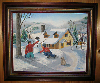 Vintage Oil On Painting Canadian Winter Scene, Vivid Colors, Framed And Signed