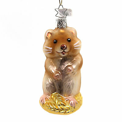 Inge Glas HAMSTER Glass Collectible Ornament  NWT made in Germany