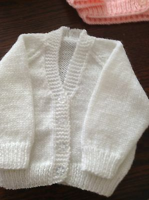 New Hand Knit Baby Cardigan .  3 Mths
