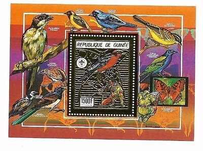 Guinea -  Gold  - Block - Mnh - Scouts - Birds