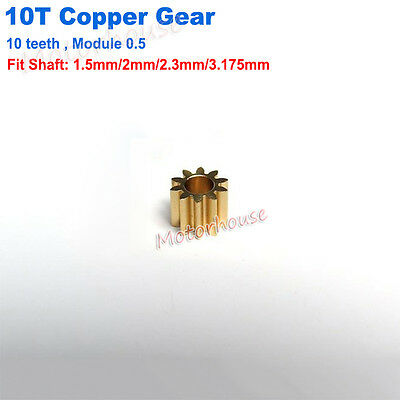 Motor Main Shaft 10T Spindle Metal Brass Copper Gear 10 Teeth 0.5 Modulus Toy