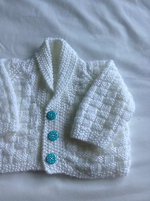 New Hand Knit Baby Cardigan .  0/ 3 Mths