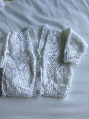 New Hand Knit Baby Cardigan .  3/6 mths