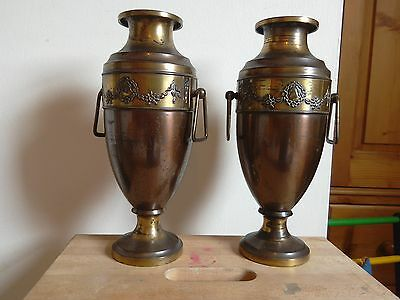 Antique Arts and Crafts Pair Of Large Beldray Copper and Brass Vases