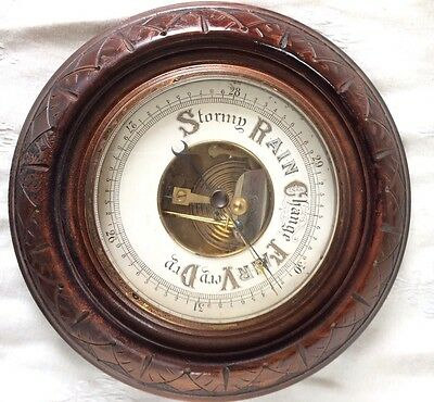 Antique Barometer,early 20Th Century Anaroid Barometer In Carved Walnut Case,g/c
