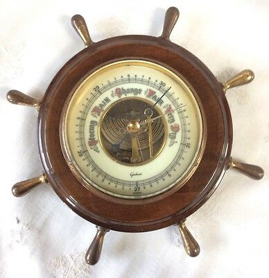 Antique Barometer,early 20Th Century Anaroid Barometer,walnut Case,ships Wheel