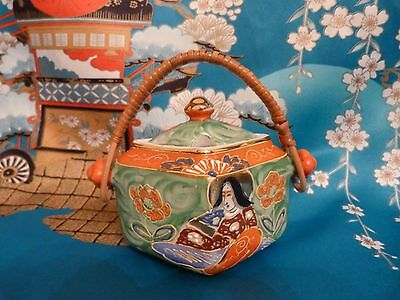Hand painted Japanese preserve/jam pot with bamboo handle