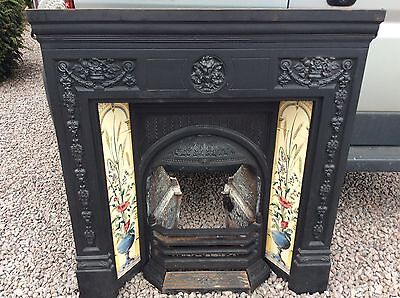 Decorative, Victorian Style, Cast Iron, Tiled Insert Fireplace