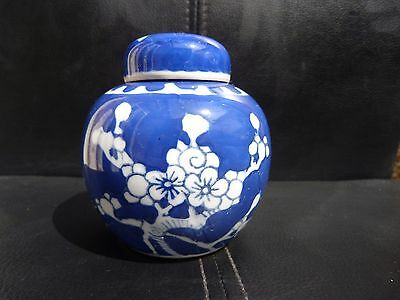Chinese Blue & White Porcelain Small Prunus Lidded Jar