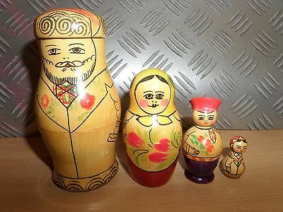 Matryoshka Russian Nesting Dolls 4 PIECES FAMILY - LOT 3U