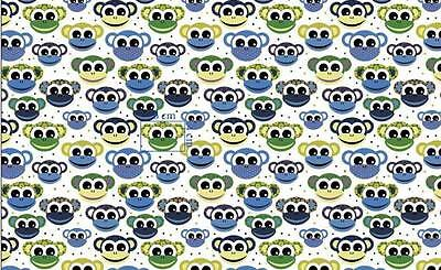 MONKEY  ON WHITE  100% COTTON FABRIC /METER /160cm WIDE !!!