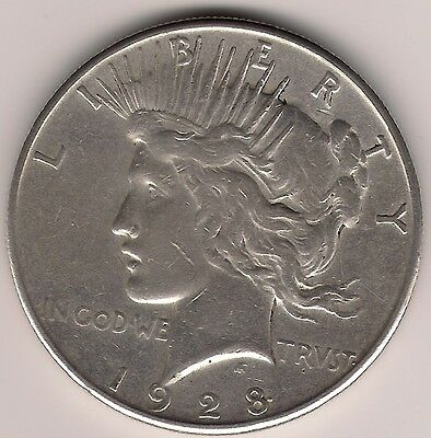 """1928 Us.usa,america,american """"peace"""" One 1 Dollar .900 Silver Coin"""