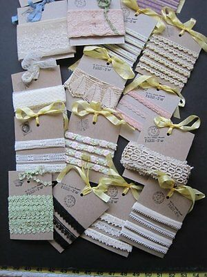 Vintage / Antique Lot Of Ivory Lace & Trim Yardage Lot Of 18 Cards