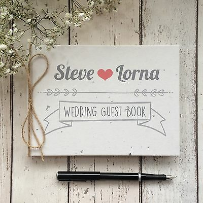 Luxury Personalised Wedding Guest Book ~ Rustic Design With Silver Leaf Cover