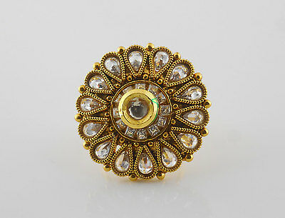 Ethnic Indian Ring Jewelry Polki Gold Plated Kundan Party Wear Adjustable R23