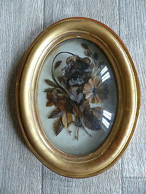 SUPERB ANTIQUE FRENCH SENTIMENTAL MOURNING HAIR ART dated 1882 . 7 2/5 ""
