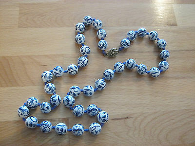 Hand knotted vintage ceramic necklace, blue & white design, gold tone clasp