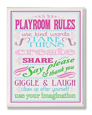The Kids Room by Stupell Pink, Green and Blue Playroom Rules Rectangle Wall