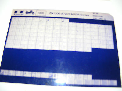 Kawasaki  Zn1300 A Voyager Series  1983-86  Parts Catalogue  (Microfiche)