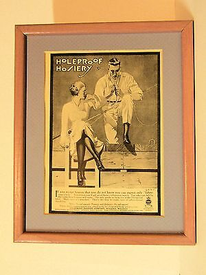 HOLEPROOF Hosiery Vintage Ad Framed and Matted ~ Young Couple Fishing