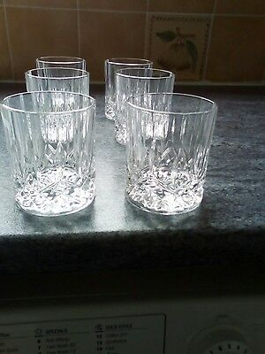 Set Of 6 Cut Crystal Whisky Tumblers